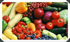 Brightly Colored Vegetables And Fruits