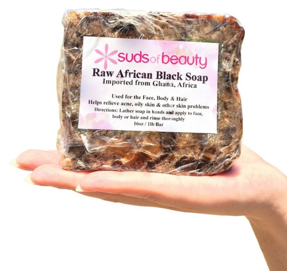 Suds of Beauty Raw Black Soap Bar from Ghana