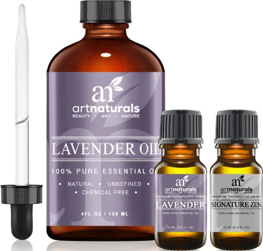 Art Naturals Lavender Essential Oil 4 oz. 3pc Set