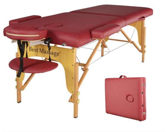 BestMassage Two Fold Burgundy Portable Massage Table