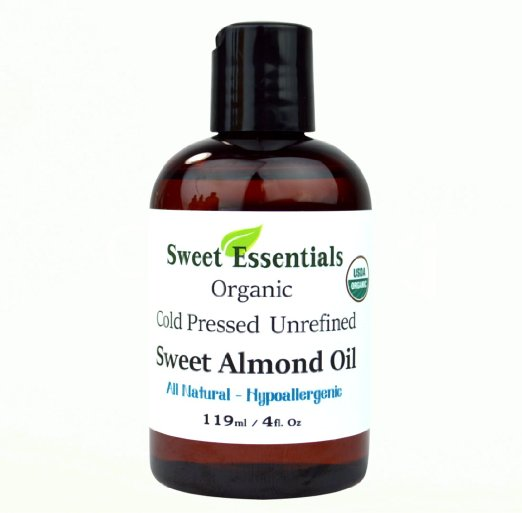 Sweet Essentials 100% Pure Certified Organic Unrefined Sweet Almond Oil